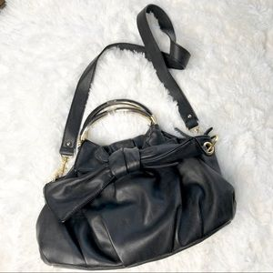 Lulu Guinness black leather bow purse